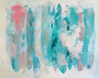 Original Fine Art Abstract contemporary Acrylic Painting Wall Art on Paper 11 x 14 inches blue pink white pallete knife handmade