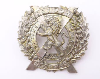 Vintage British Military Hat Cap Badge The London Scottish Battalion