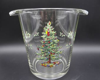 "Vintage Spode Christmas Tree 7"" Glassware Ice Bucket"
