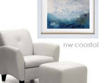 Original Oil Painting Landscape Art Wall Hanging Gallery Canvas Blue Grey Colors Sky Earth Clouds - Home Interior Decorating Design Unframed