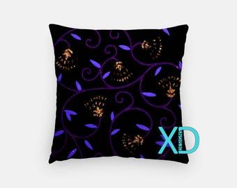 Fancy Vine Pillow, Floral Pillow Cover, Royal Pillow Case, Blue, Purple Pillow, Artistic Design, Home Decor, Decorative Pillow Case, Sham