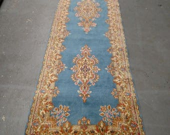 SUMMER CLEARANCE Persian Rug - 1970s Vintage, Hand-Knotted, Kerman Runner (3130)