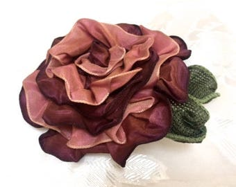 Fabric Rose Magnetic Brooch, Flower Shawl Pin, Rose Scarf Pin