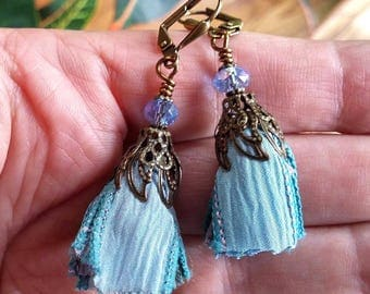 Tassel Earrings, Silk Ribbon Earrings, Ribbon Tassel Earrings, Bohemian Jewelry