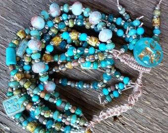 Turquoise Bead Bracelet, Wrap Bracelet, Crochet Bracelet, Multiple Strand Bracelet, Chunky Bracelet, Bohemian Jewelry, Boho Bracelet