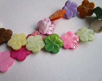 16 Multi Color - Shell Flat Beads - 3mmx25mm - jewelry bead supplies - flower shell bead - flower daisy multi color shell bead - daisy beads