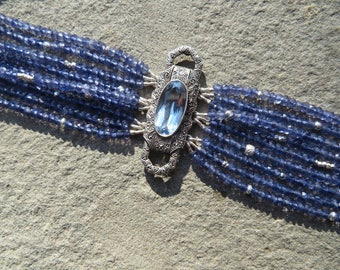Iolite Bracelet,Brooch Bracelet,Repurposed Brooch Bracelet,Multi Strand Gemstone Bracelet,Deco Brooch Jewelry,Blue Gem Bracelet,Iolite Cuff
