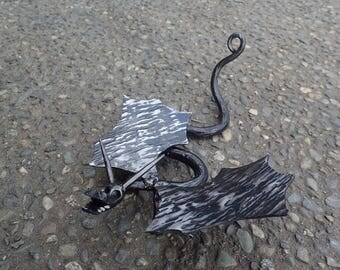 Small Hand Forged Dragon Sculpture. Hand Forged by Blacksmith.