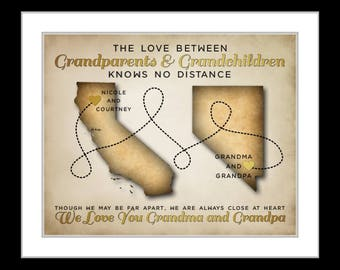 Birthday gifts for grandparents custom art gift for grandmother long distance print wall art personalized map birthday gifts for grandpa