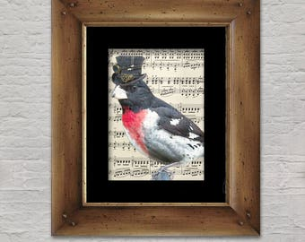 Music Print: Songbird - Steampunk Red-Breasted Songbird in Top Hat