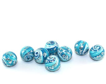 Handmade beads, round stripes beads for jewelry making, artisan beads, 8 polymer clay ball beads in turquoise, blue and silver, unique beads