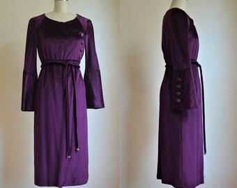 1960s Balmain Demi-Couture Purple Silk Velvet Dress with Rhinestone Belt