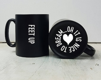 Personalised Engraved Feet Up Mug-Relaxing Gift-Gift for Mum-Gift for Dad-After Exams Gift-Retirement Gift-Mug Gift-Relaxing Gift