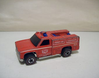 Vintage Hot Wheels Redline Emergency Unit Die-cast Rescue Truck 1974, Hong Kong