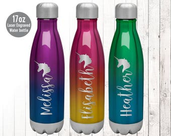 Ombre Unicorn Laser Engraved Stainless Steel Water Bottle, Personalized Water Bottle, Laser Engraved Thermos, Custom Water bottle