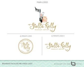 Branding Package Premade Logo - Makeup Logo Design, Set of 3 Logos - Makeup Artist Logo - Lipstick - Beauty Salon Logo - Makeup Branding