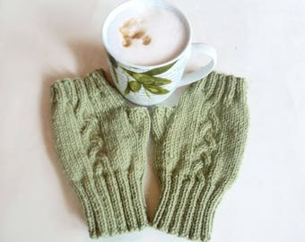 Green Wool Fingerless Gloves Mittens - Women Cable Hand Knitted Hand Warmers - Knit Fingerless Wool Alpaca Wrist Warmers - Clickclackknits