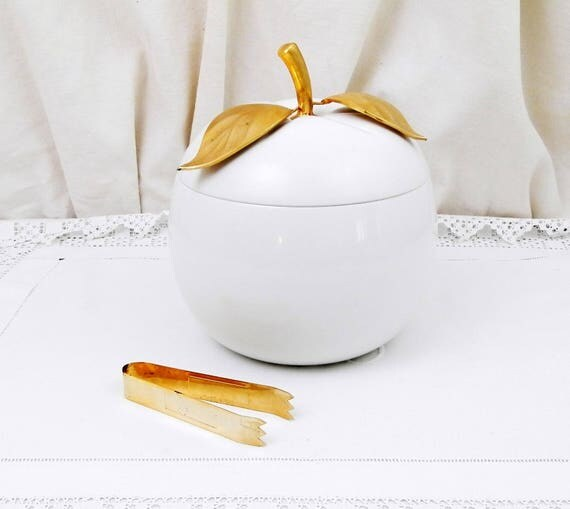 Vintage Mid Century Barware White and Gold Apple Shaped Ice Bucket / Isolated Food Container by Freddotherm from Switzerland, Retro Decor