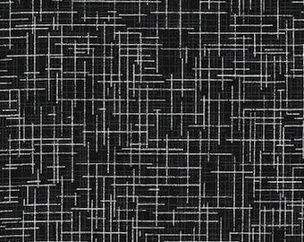 Robert Kaufman Quilters Linen fabric Black Metallic