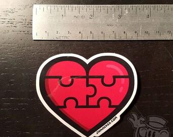PUZZLE HEART JinWicked.com Heartbreak Love Forgiveness Healing Vinyl Sticker