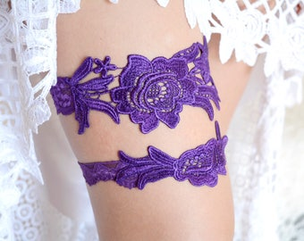 Purple Bridal Garter Set Plum Wedding