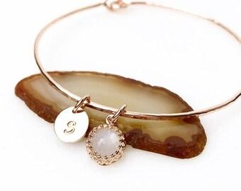 White Moonstone Charm Bracelet / June Birthstone Gift for Mom, Wife / Moonstone Bangle / Modern Bohemian Charm Bangle
