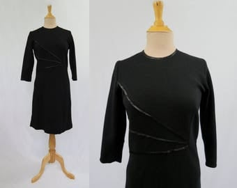 Black Wool Dress - 1960s