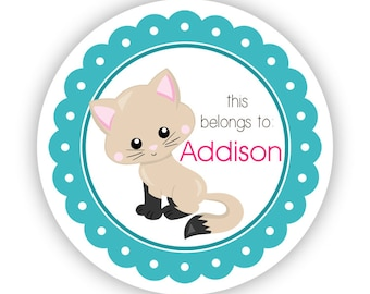 Kids Cat Personalized Stickers - Turquoise Kitten Stickers, Cream Cat Name Tag, Teal Kitten Name Label Stickers - Back to School Name Labels