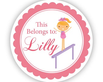 Personalized Name Stickers - Cute Coral Pink Girl Gymnast Name Tag Stickers - Round Name Tag Labels - Perfect for Back to School Labels