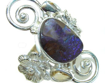 Boulder Opal, Citrine Sterling Silver Ring - weight 15.80g - Size 9 - dim L -1 7 8, W -1 1 4, T -1 4 inch - code 8-mar-16-40