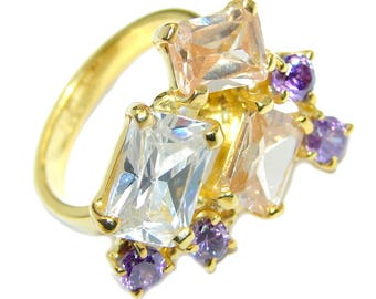 Cubic Zirconia, Cubic Zirconia Sterling Silver Ring - weight 7.20g - Size 7 1 2 - dim L- 3 4, W - 7 8, T- 3 16 inch - code 8-wrz-16-21