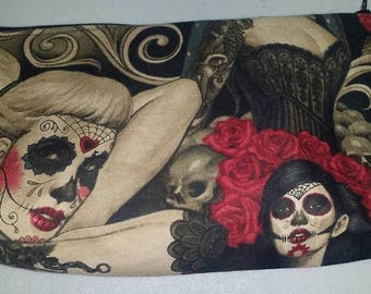 Day of Dead Tattoo Girl Cosmetic Bag