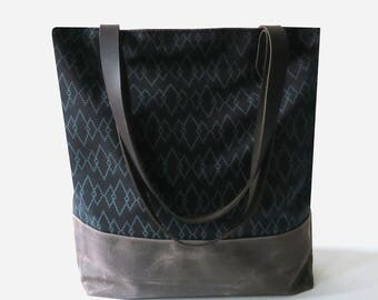"""Waxed Canvas Screen Print Tote Bag with Leather Straps - """"Canyon"""" Black/Brown, School Bag, Work Bag, Tote Bag, Waxed Canvas Tote"""