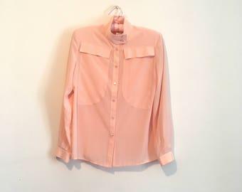 80s dusty pink long sleeve blouse, millenium pink dress shirt, medium - vintage -