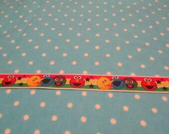 5 Yards 7/8 Inch Striped Sesame Street Character Blocked  Grosgrain Ribbon