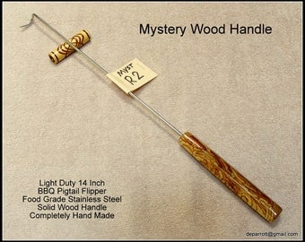 Mystery Wood  BBQ / Grilling Meat Hook, Stainless Steel Flipper, Pig Tail Tool