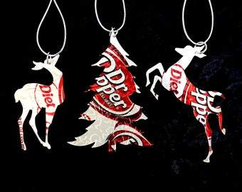 Recycled Diet Dr Pepper Soda Can 3-Piece Christmas Ornament Set
