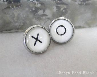 X and O earrings - Vintage Stamped Letterpress Letters in Stainless Steel Posts