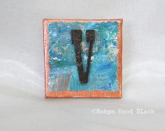 Rustic Letter V and Painted Verdigris Magnet 2 X 2
