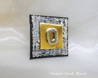Letter O Silver and Gold Vintage Metal Letter Magnet 2 X 2