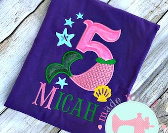 Mermaid Birthday Shirt-under the sea Birthday ShirtCustom Birthday Shirt