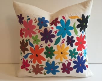 boho mexican flower otomi pillow cover