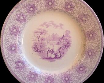 """Purple Transferware Side Plate, Porcelain Opaque """"Sirius"""", 7"""", English Transferware"""