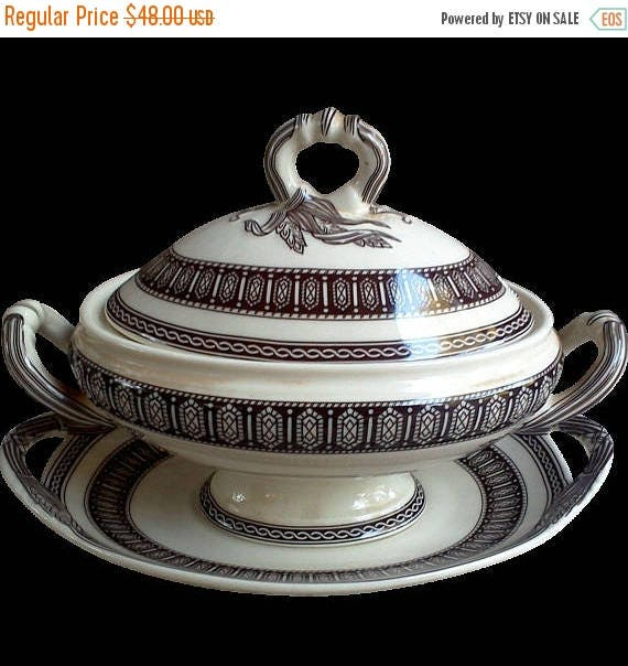 50% off Brown Transferware Gravy Tureen with Underplate, Floral, Covered Dish, Serving, Ironstone, Sauce Tureen