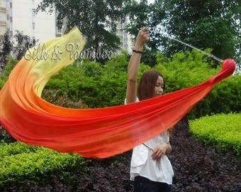 1pc detachable Fire 1.8m*0.9m dance silk veil poi, hand painted 5mm silk veils, hand rolled edges