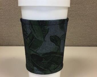 Jungle Denim - Reusable Coffee Cup Sleeve, Mug Cozy, Cup Sleeve, Coffee Cup Cozy
