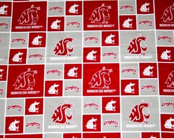 Washington State University Fabric, College Fabrics, NCAA Fabrics, Cougars 1.25 Yard Continuous Piece, Sykel #WAST020