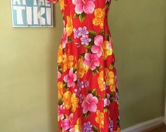 Vintage Hawaiian Holoku Dress, Size Small