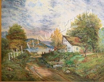 """16"""" x 20""""  High Resolution Stretched Canvas Print of Original Oil Painting of Cottage with a View"""