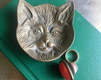 vintage brass cat trinket or ring dish